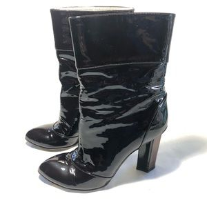 Dolce Gabbana Patent Leather High Heel Boots